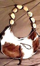 Cowhide Leather Handbag Ladies Purse Sulay by Enmon Fur Shoulder Bag