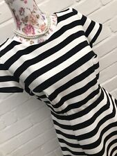 Bravissimo Pepperberry Dress 10 Really Super Curvey Black White Stripe Fit Flare
