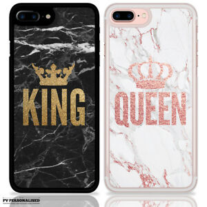 QUEEN KING CROWN COUPLE MATCHING PHONE CASE ROSE GOLD MARBLE FOR APPLE IPHONE