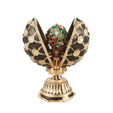 Faberge Egg with Russian Coat of Arms & Bouquet of Flowers 2.8'' (7 cm) black
