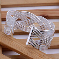 Women's Fashion Jewelry Adjustable Silver Plated Bangle Cuff Bracelet 18-5