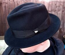 New Era Men's Original EK Collection Black Wool Fedora Trilby Hat - Small