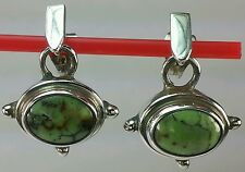Sarda SILVER Lime Green Turquoise Earrings.  Vintage