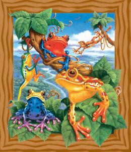"""SunsOut Corbert Gauthier Colorful Amphibians Frogs 18"""" x 15 200 Pc Jigsaw Puzzle"""