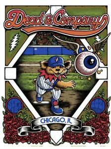 Dead & Company Wrigley field Poster 2021 9/18 chicago concert night 2 cubs