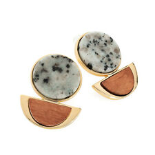 Gold Colour Blue Stone and Wood Effect Earrings Ladies Fashion Jewellery