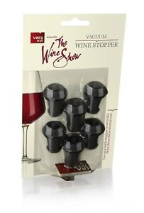 Vacu Vin The Wine Show Wine Stoppers Grey Set Of 6