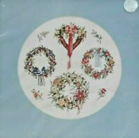 1980s NIP VTG Counted Cross Stitch Embroidery Kit Victorian Wreaths 14x14 5740F