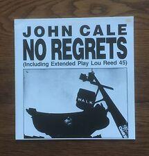 ORIGINAL 1988 SCARCE GERMAN IMPORT JOHN CALE - LOU REED 'NO REGRETS' LP + SINGLE