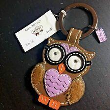 NWT Coach Brown Leather Smart Owl Keyfob keychain 92918