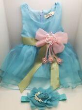Vestito elegante neonata /Abito elegante bimba con fascia /Vestito battesimo