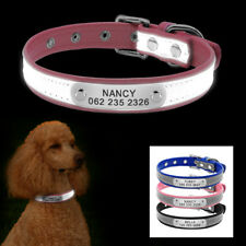 Reflective Personalized Dog Collar Pet Dog Name ID Nameplate Free Engraved XS-M