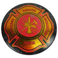 First Responder Vintage Style Maltese Cross Firemen Dome Metal Tin Sign