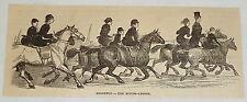 1881 magazine engraving ~ HORSEBACK RIDING LESSON ~ Brighton, GREAT BRITAIN
