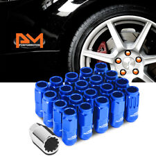 M12X1.5 Blue JDM Open End Cone Wheel Lug Nuts+Spline Locks+Key 21mmx50mm 20Pc