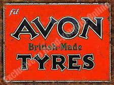 Vintage Garage Avon Tyres, 131 British Motorsport Old Car, Medium Metal/Tin Sign