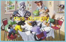 MAINZER Comic Dressed CATS DOGS #4924~Printed in Belgium~DINNER TABLE QUARREL PC