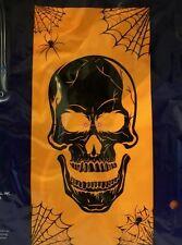 Halloween Skull with Orange Background Light Up Door Cover 30 x 60