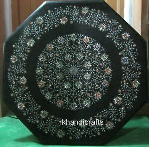 """36"""" Octagonal Stone Reception Table Top Multi Color Stone Inlay Dining"""