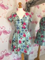 Mint Fresh Green Pink Floral Fit Flare Cute Summer Holiday Shoet Dress 8/10