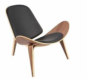 HOME CRAFT BRAND NEW Shell Chair CH07, Regular, Black