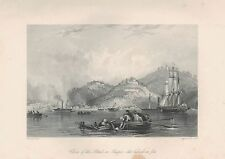 1843 ANTIQUE PRINT-ALLOM CHINA-CLOSE OF THE ATTACK ON SHAPOO, SUBURBS ON FIRE