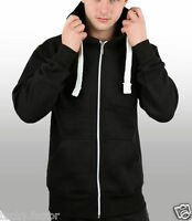 Mens Boys American Plain Fleece Hoodie Zip Up Sweatshirt Jacket size UK S-XXL