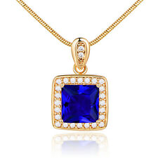 Luxury Square Sapphire 18K Gold Filled Pendant Women Lady Wedding Cameo Necklace