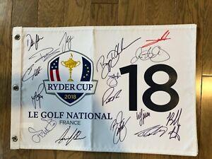 RYDER CUP FLAG SIGNED by Rory McIlroy,Dechambeau,John Rahm,Sergio Garcia,Johnson