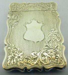 Antique Edwardian Solid Sterling Silver Card Case Bir 1902