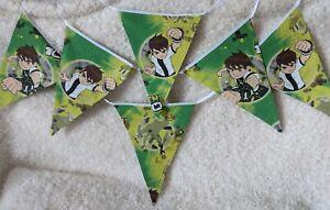 Handmade Green Ben 10 Hero Character Fabric Bunting (3 metres).