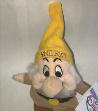Snow White & Seven 7 Dwarfs Sneezy Dwarf Plush bean bag toy DISNEY STORE NWT