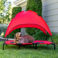 Outdoor Raised Mesh Cot Cooling Dog Pet Bed w/ Removable Canopy Tent, Large, Red