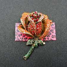 Flower Crystal Charm Brooch Pin Gift New Betsey Johnson Shiny Red Rose