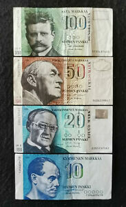 FINLAND: Set of 4 Finnish Markka Banknotes.