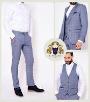 Mens Marc Darcy Tweed 3/2 Piece Blazer Waistcoat Trousers Slim Fit Vintage