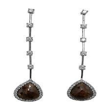 3.67Ctw Pear Shape Diamond Slice Dangle 14KWG Earrings