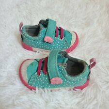 Baby Girl keen blue & pink Polk A Dot hook and loop shoes size 4