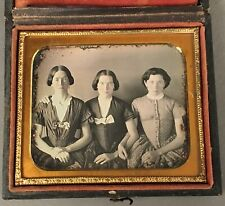 1/6 PLATE HORIZONTAL DAGUERREOTYPE 3 YOUNG WOMEN, SISTERS? NO WIPES, FULL CASE