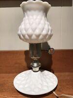 MCM Milk Glass Quilted Diamond Ruffled Electric Hurricane! Boudoir Lamp Key Turn