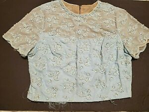 Vintage Unfinished Blue Bodice for Dress w Sequins & Faux Pearls Sewing Crafts M