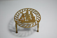 Vintage Antique Brass Footed Trivet Pot Plant Kettle Stand With Ship Detail
