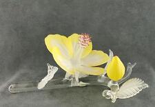 Yellow Hibiscus Art Glass Figurine Murano High Quality
