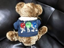 "Teddy Bear Wearing M&Ms Candy Denim Jacket 12"" Stuffed Plush Animal"