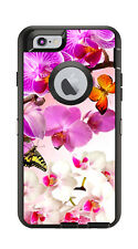 Skin Decal Wrap for Iphone 6 6S Otterbox Defender Case Pink White Flowers Motif
