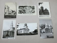 6 RPPC Real Photo Postcards Churches United States Vermont Connecticut Indiana