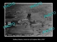 OLD POSTCARD SIZE PHOTO OF SUDBURY ONTARIO VIEW OF THE CREIGHTON MINE c1930
