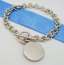 Sterling Silver 925 Round Tag Charm Chain Link Bracelet Mexico 7.5 in