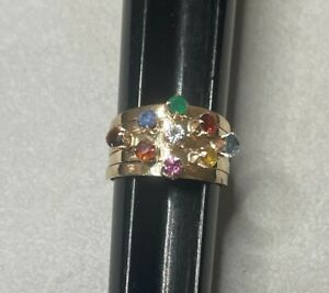 Vintage Siam Yellow Gold Multi Gems Gemstone 5 Band Thai Princess Ring ~ Size 6