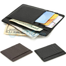 RFID Blocking Leather Front Pocket Wallet Slim Leather Multi ID Card Case Brown